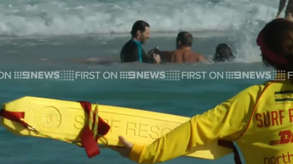 Hugh Jackman helping out in Bondi Beach rip drama