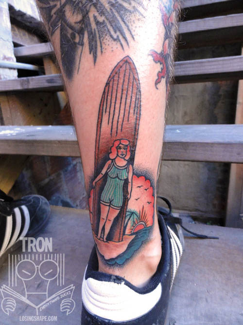 Surfer girl tattoo