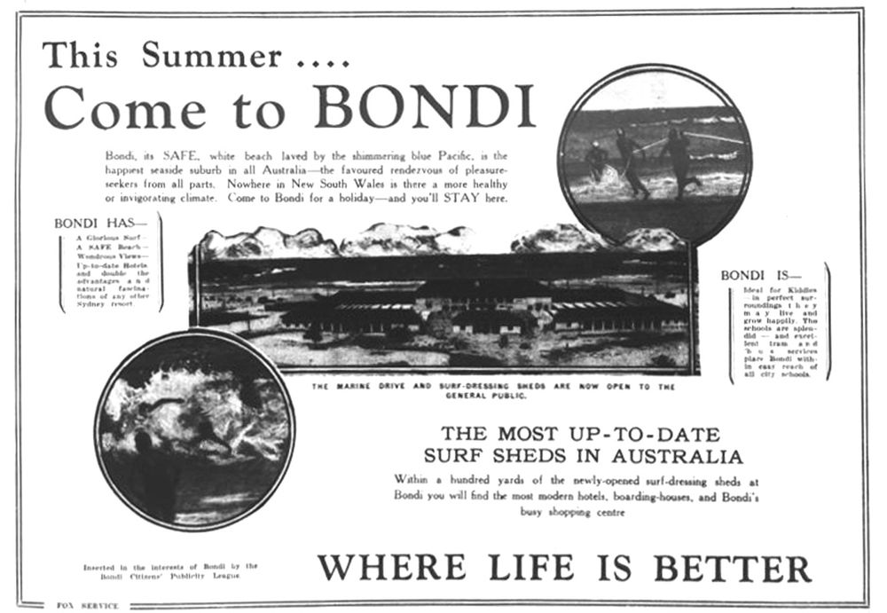 ewspaper advertisement outlining the attractions of Bondi Beach, October 1928